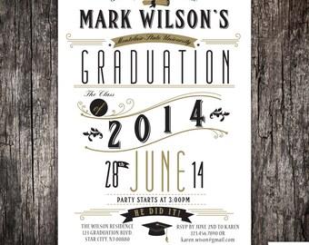 Graduation party invitation announcement - High School - College - University  - Printed or DIY