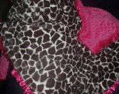 Giraffe Print Baby Blanket made with Soft Minky Fabric - you choose colors