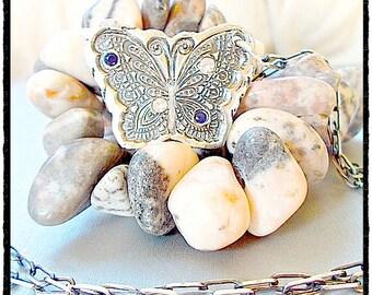 TRANSFORMATION +CHANGE Butterfly Gemstone Necklace, Butterfly Jewelry  September Birthstone, Jewellery yourdailyjewels