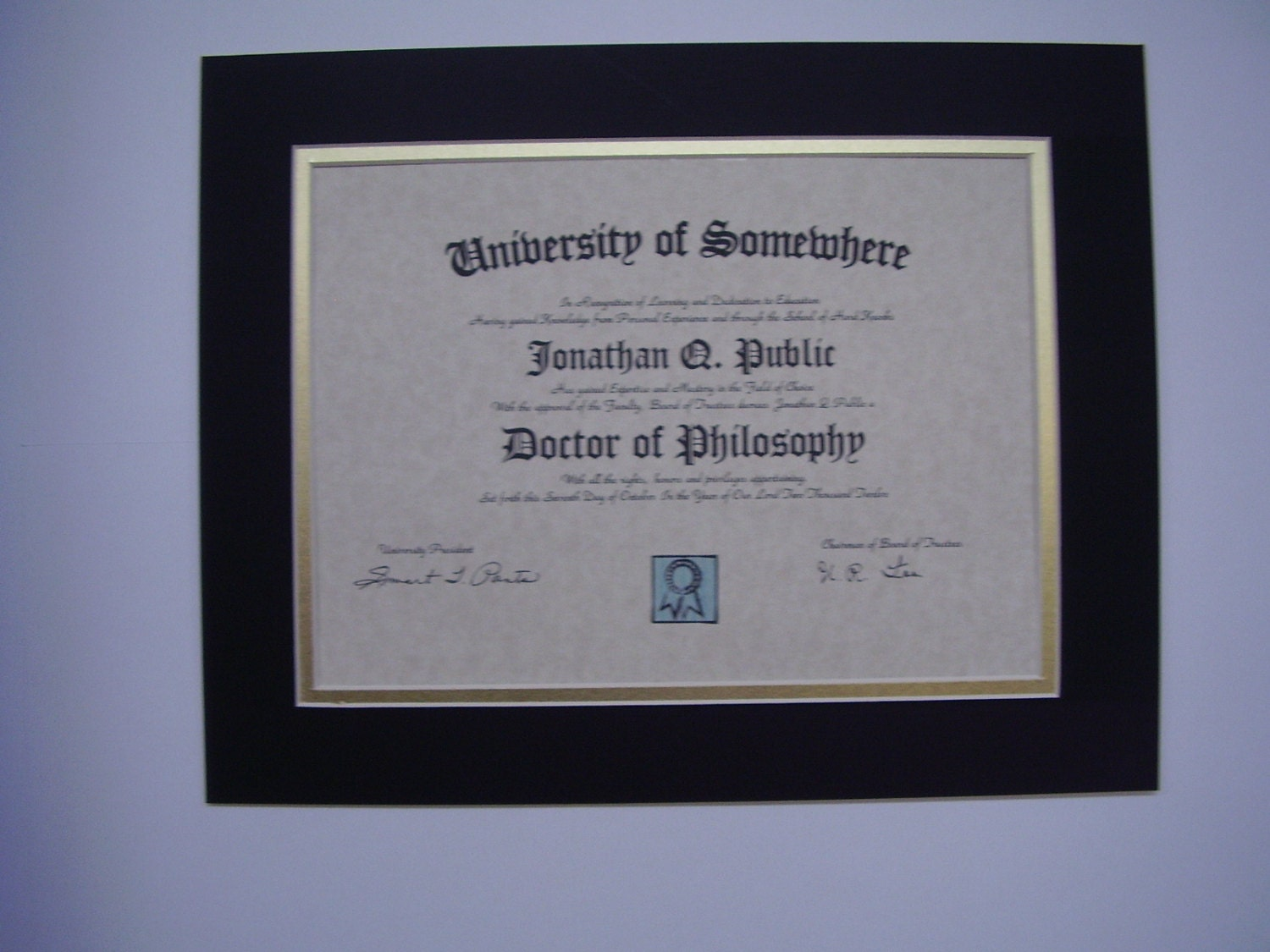 Picture Mat Diploma Size Mat Black With Shiny Gold 11x14