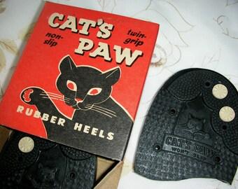 Cat's Paw Heels Size 7-8 Boot or shoe heel men 1950 60's  Vintage Pair Super Rubber Heels