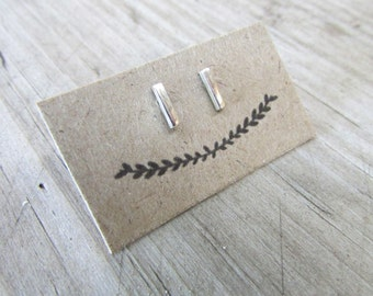 bar studs simple earrings simple studs sterling silver studs modern jewelry Free Shipping!