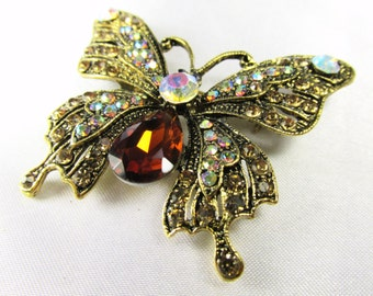 Butterfly Brooch - Topaz and Crystal AB Vintage Style Antique Gold Brooch for bridal bouquet or jewelry decoration