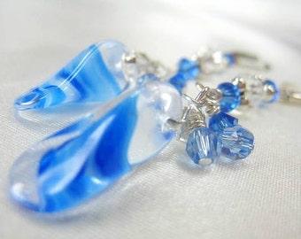 Sapphire Blue Duckbill Glass Beads and Swarovski Crystal Earrings on Sterling Silver Leverbacks