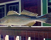"Weakfish 34"" chainsaw wooden fish taxidermy carving beach cottage angler home decor detailed nautical sculpture wall mount rustic art"