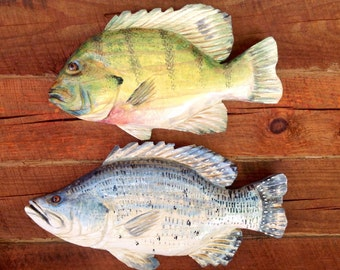 "Blue Gill 17"" Crappie 19"" Set colorful chainsaw wood carving rustic home wall mount outdoor deck lake retreat art fish sculpture cabin decor"