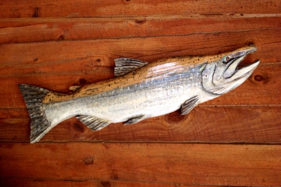 King salmon carving wooden fish wall mount by oceanarts