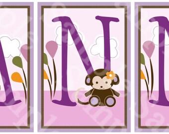"Personalized ""Jacana Animals/Monkey/Elephant/Cow"" Letter Art  5x7  inch Linen Look Nursery Wall Art Prints Baby Children Kids Decor"