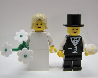 Lego BRIDE & GROOM Wedding Minifig Pair Blonde Hair