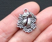 6 Wreath Charms Antique  Silver Tone Great Details - XC70