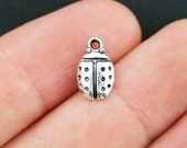 8 Ladybug Charms Antique Silver Tone Too Cute - SC1349