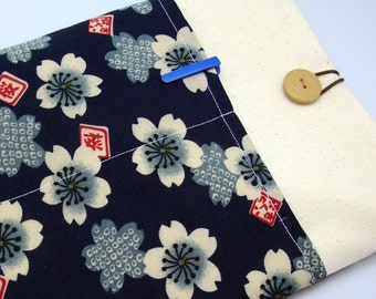 "11"" 13"" Macbook Pro case, Macbook Air cover, Surface RT Pro, Laptop, Custom tablet sleeve with 2 pockets - Sakura"