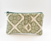 Petite Pleated Pouch, Wallet, Small, Gift Idea, Green, Pattern, Zipper Pouch