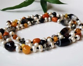 Long beaded gemstone necklace - Amber Pearl Sardonyx Pyrite Coral - Natural Gemstone Jewelry - Timeless Jewelry