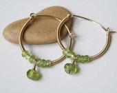 Green gemstone hoop earrings - Peridot - wire wrapped - Gold filled gauge - faceted beads - Natural gemstone earrings