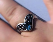 Teardrop Gemstone Ring Sterling Silver Blue Aquamarine Green Emerald Red Pink sapphire white Topaz handmade fine jewelry size 5 6 7 8 9 10