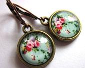 Light Blue Glass Flower Earrings Vintage Style Fashion Jewelry