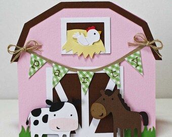 Farm Birthday Invitations / Pink barn card / farm animals party / cow and horse / set of 12