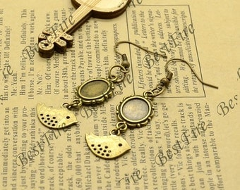 3 pairs Antiqued brass Earwires Hook With Oval Cabochon size 8x10mm Pad,Earrings hook,Bird earrings base