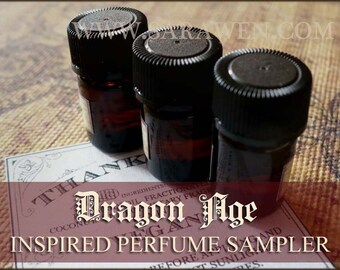 DRAGON AGE inspired Perfume Oil Samples / Vegan Perfume / 2ml perfume / Fantasy Medieval Cologne perfume oil