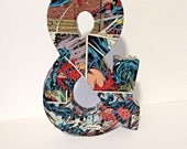 Ampersand Comic Book Art, Pop Art, Custom Made 8 inch Medium, Typography