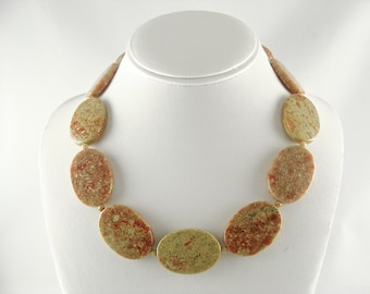 Jasper Necklace – Large Bead Necklace Made of Mayflower Jasper Gemstones
