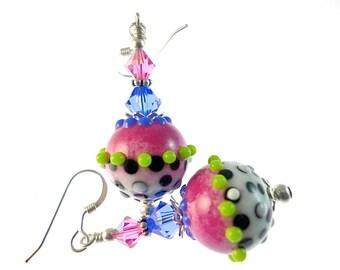 Lampwork Earrings, Glass Bead Jewelry, Pink Dangle Earrings, Polka Dot Beaded Earrings, Lampwork Jewelry, Black White Beadwork Earrings