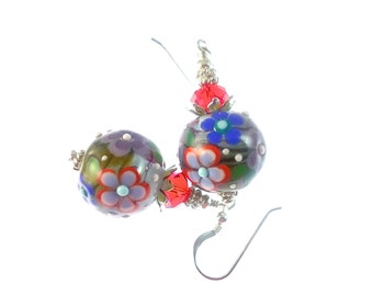 Floral Lampwork Earrings, Glass Bead Earrings, Blue Dangle Earrings, Red Lampwork Jewelry, Beadwork Earrings, Glass Bead Jewelry