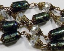 Vintage Very Dark Aqua Blue Foil Lampwork Glass & Crystal Bead Necklace