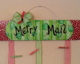 Merry Mail Christmas Card Holder Painted Clothespins (set of 12)