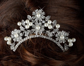 Pearl Crystal Flower Hair Comb - Style 36