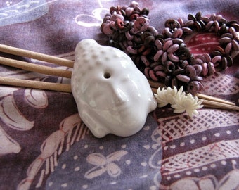 White Buddha Head Ceramic Incense Stick Holder
