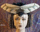 Cunene Sacred Winged Scarab headdress, headpiece, pale gold, black and teal, Art Nouveau, art deco