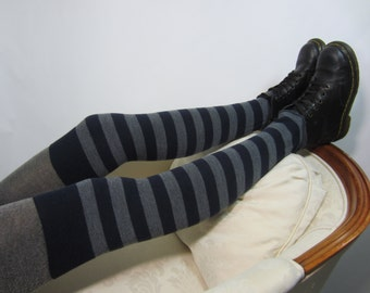Merino Wool Socks Thigh High Leg Warmers Navy Gray Striped Footless A965