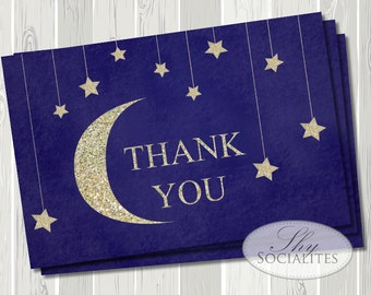 Twinkle Twinkle Little Star Baby Shower Thank You Card | Stars and Moon, Glitter, Gold, Navy Blue, Night Sky, Sparkle | DIY Printable