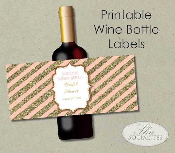 Printable Wine Bottle Labels: Blush & Gold Glitter Printable Wine Label Hostess Gift