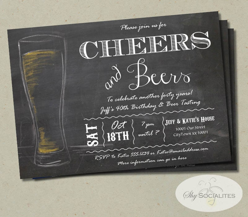 Cheers & Beers Chalkboard Invitation Birthday 50th 40th