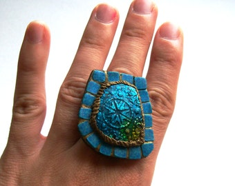Blue statement ring Sunshine in a Moroccan Bath irregular mosaic ring faux glass ultramarine oriental bronze Egyptian unique cocktail ring