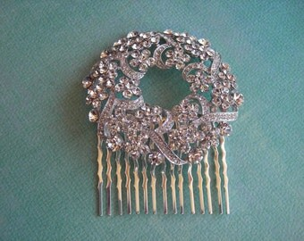 NOEL   Bridal Silver with Austrian Crystals Wreath Hair Comb