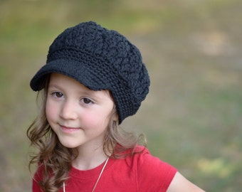 Crochet Newsboy Slouchy Beanie Hats for Girls, Black Toddler Hat for Girls, Toddler Girls Hats, Crochet Hat for Toddler Girls, Hat, Teen Hat