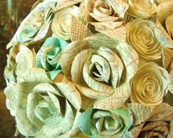 The Emmie bridal bouquet alternative ivory burlap leaves, beige and aqua map  cream cardstock roses for outdoor farmhouse country wedding