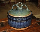 Pottery Stoneware Covered Casserole Bean Pot Serving Dish Vintage Handmade