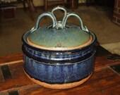 Pottery Stoneware Covered Casserole Bean Pot Serving Dish Vintage Handmade