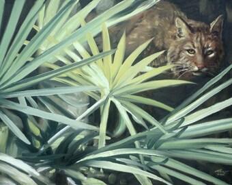 Bobcat, wildlife animal, large 24x36 original oils on canvas painting by RUSTY RUST / B-103