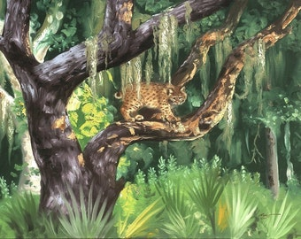 """Large 30"""" x 40"""" bobcat, wildlife, oils on canvas painting by RUSTY RUST / B-78"""