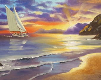 Sailboat boat beach sunset seascape 24x36 oils on canvas painting by RUSTY RUST / M-292