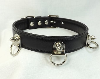Locking Collar 3 D ring and Spikes Bdsm Collar mature padlock collar