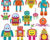 Robots Clip Art Clipart, Retro Robot Party Clipart Clip Art Vectors - Commercial and Personal Use