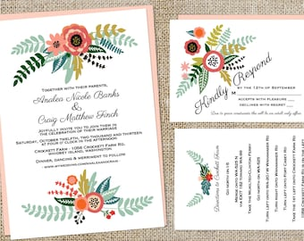 Gathered Blooms Wedding Invitations