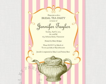 Vintage Bridal Tea party - Instant Download - DIY printable Wedding or Bridal Shower Invitation